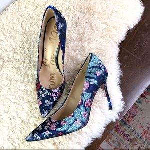 Sam Edelman Hazel stiletto pump floral embroidered